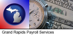 hourly payroll symbols - a stopwatch and paper money in Grand Rapids, MI