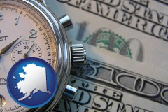 alaska map icon and hourly payroll symbols - a stopwatch and paper money