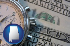 alabama map icon and hourly payroll symbols - a stopwatch and paper money