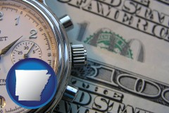 arkansas map icon and hourly payroll symbols - a stopwatch and paper money