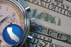 california map icon and hourly payroll symbols - a stopwatch and paper money