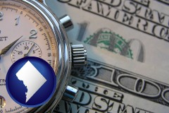 washington-dc map icon and hourly payroll symbols - a stopwatch and paper money