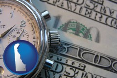 delaware map icon and hourly payroll symbols - a stopwatch and paper money