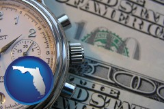 florida map icon and hourly payroll symbols - a stopwatch and paper money