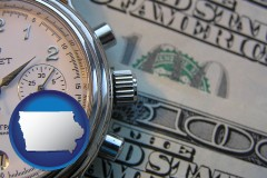 iowa map icon and hourly payroll symbols - a stopwatch and paper money