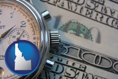 idaho map icon and hourly payroll symbols - a stopwatch and paper money