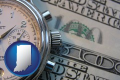 indiana map icon and hourly payroll symbols - a stopwatch and paper money