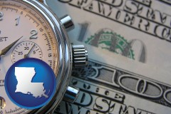 louisiana map icon and hourly payroll symbols - a stopwatch and paper money