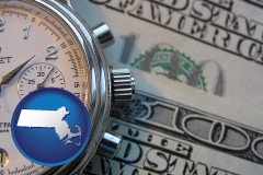 massachusetts map icon and hourly payroll symbols - a stopwatch and paper money