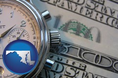 maryland map icon and hourly payroll symbols - a stopwatch and paper money