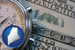 maine map icon and hourly payroll symbols - a stopwatch and paper money