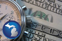 michigan map icon and hourly payroll symbols - a stopwatch and paper money