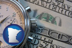 minnesota map icon and hourly payroll symbols - a stopwatch and paper money