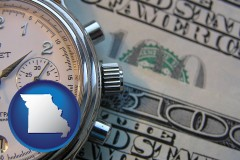 missouri map icon and hourly payroll symbols - a stopwatch and paper money