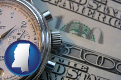 mississippi map icon and hourly payroll symbols - a stopwatch and paper money