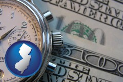 new-jersey map icon and hourly payroll symbols - a stopwatch and paper money