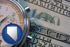 nevada map icon and hourly payroll symbols - a stopwatch and paper money