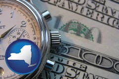 new-york hourly payroll symbols - a stopwatch and paper money