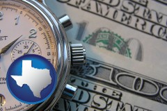 texas map icon and hourly payroll symbols - a stopwatch and paper money