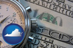 virginia map icon and hourly payroll symbols - a stopwatch and paper money