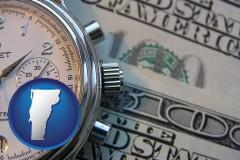vermont map icon and hourly payroll symbols - a stopwatch and paper money