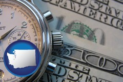 washington map icon and hourly payroll symbols - a stopwatch and paper money