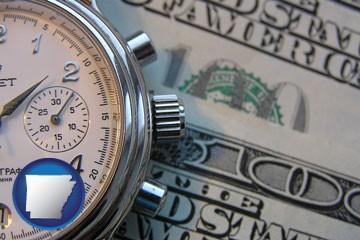 hourly payroll symbols - a stopwatch and paper money - with Arkansas icon