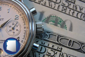 hourly payroll symbols - a stopwatch and paper money - with Arizona icon