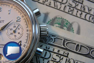 hourly payroll symbols - a stopwatch and paper money - with Connecticut icon