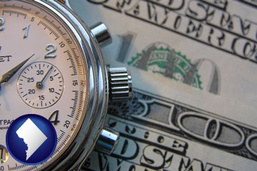 hourly payroll symbols - a stopwatch and paper money - with Washington, DC icon