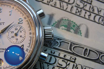 hourly payroll symbols - a stopwatch and paper money - with Hawaii icon