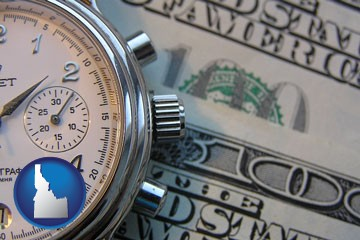 hourly payroll symbols - a stopwatch and paper money - with Idaho icon