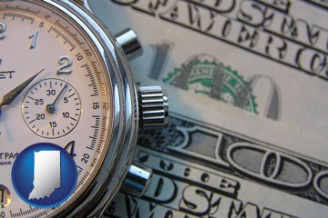 hourly payroll symbols - a stopwatch and paper money - with Indiana icon