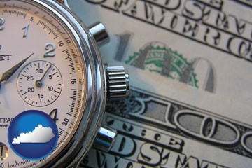 hourly payroll symbols - a stopwatch and paper money - with Kentucky icon