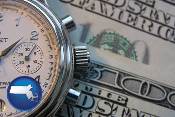 hourly payroll symbols - a stopwatch and paper money - with Massachusetts icon