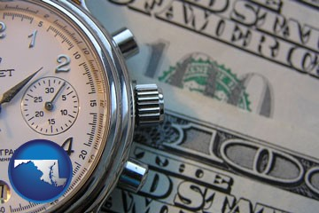 hourly payroll symbols - a stopwatch and paper money - with Maryland icon