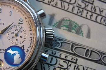 hourly payroll symbols - a stopwatch and paper money - with Michigan icon