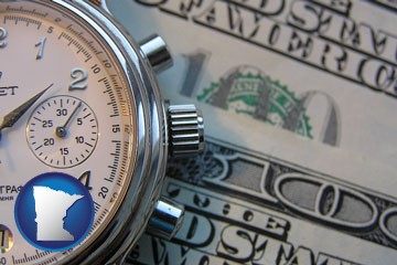 hourly payroll symbols - a stopwatch and paper money - with Minnesota icon