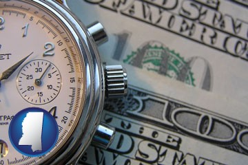 hourly payroll symbols - a stopwatch and paper money - with Mississippi icon