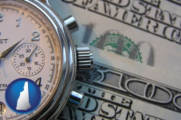 hourly payroll symbols - a stopwatch and paper money - with New Hampshire icon