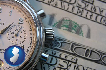 hourly payroll symbols - a stopwatch and paper money - with New Jersey icon