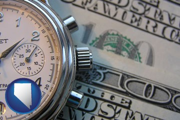 hourly payroll symbols - a stopwatch and paper money - with Nevada icon