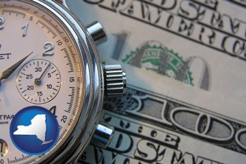 hourly payroll symbols - a stopwatch and paper money - with New York icon