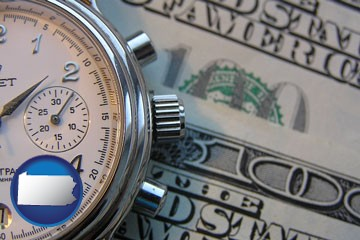 hourly payroll symbols - a stopwatch and paper money - with Pennsylvania icon