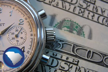 hourly payroll symbols - a stopwatch and paper money - with South Carolina icon