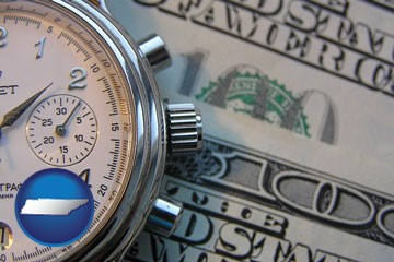 hourly payroll symbols - a stopwatch and paper money - with Tennessee icon