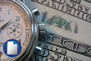 hourly payroll symbols - a stopwatch and paper money - with Utah icon