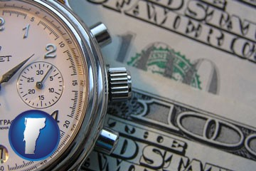 hourly payroll symbols - a stopwatch and paper money - with Vermont icon