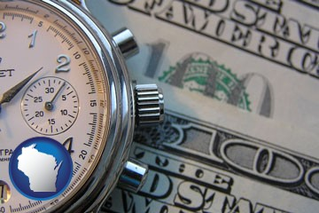 hourly payroll symbols - a stopwatch and paper money - with Wisconsin icon